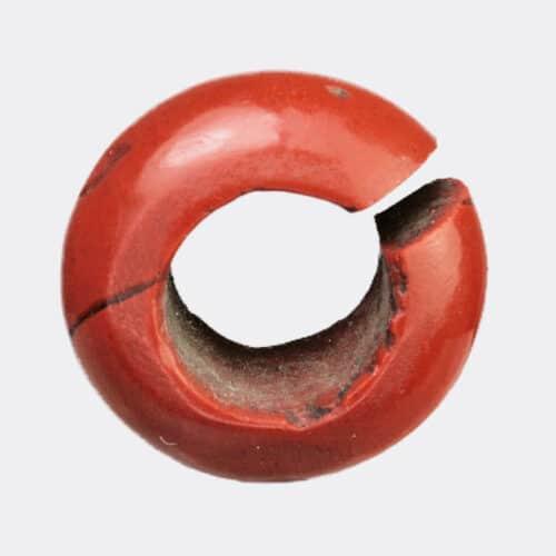 Egyptian Antiquities - Egyptian New Kingdom red jasper earring